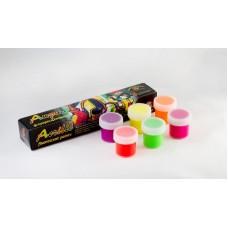 Акриловые краски худож. АКВА-КОЛОР набор  6 цветов. по 15 мл флуоресцентные, 90 мл,  картонная коробка  арт.К4809