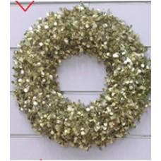 Новогодний венок Большой с золотыми кругами из полиэтилена / 46см арт.78835