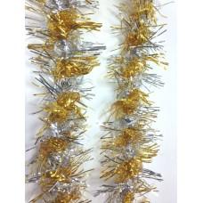 Новогодняя мишура (серебро+светлое золото, 9*200 см, из ПЭТ) арт.34861