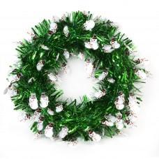 Новогодний венок Зелёный со снеговиками из полиэтилена / 40см арт.78834