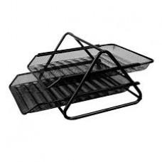 Лоток для бумаг 2х ярусный горизонтальный метал сетка Е9183