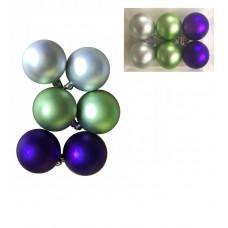 Шары Ассорти фиолетовое, зеленое, серебряное из пластика, 6 см/ 6 шт. арт.78780
