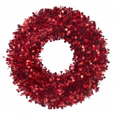 Новогодний венок Большой с красными кругами из полиэтилена / 46см арт.78837