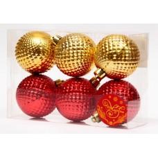 Шары Ассорти  золотые и красные из полистирола. Набор из 6 шт. / 6см арт.76067