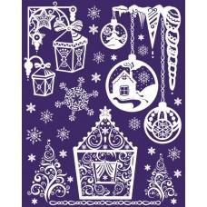 Новогоднее оконное украшение из ПВХ пленки, декорировано глиттером; арт.41754