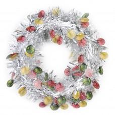 Новогодний венок Серебристый с ёлочными шарами из полиэтилена / 40см арт.78830