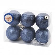 Шары темно-синие из пластика, набор 6шт, 6см арт.78788
