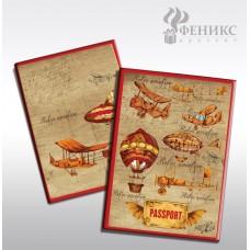 """Обложка для паспорта """"Самолеты и дирижабли"""" арт.41580 (13,3*19,1см, из ПВХ) / 13,3*19,1 арт.41580"""