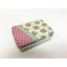 Коробка для безделушек и мелочей Букеты и горошек арт.43711 (9х6,5х2,7см из черного окрашенного мета