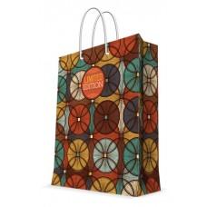 Бумажный пакет Темный узор для сувенирной продукции , с ламинацией, с шир / 26х32.4х12.7см арт.76580