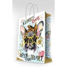 Бумажный пакет Бульдог в очках для сувенирной продукции , с ламинацией, с / 26х32.4х12.7см арт.76577
