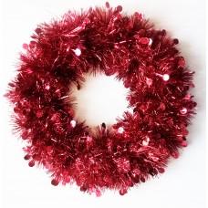Новогодний венок Красные круги из полиэтилена / 24см арт.78823