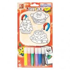 Краски по стеклу 6 цветов, набор для изготовления магнитов, ВИТРАЖ (Луч)