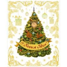 """Новогоднее оконное украшение """"Новогодняя елка в золотых узорах"""" арт.41674"""