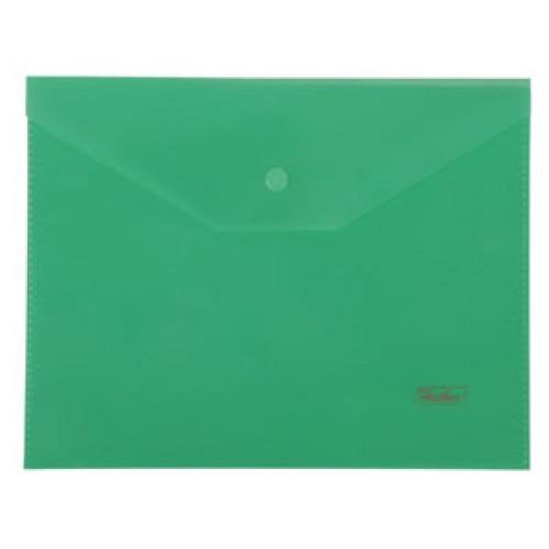 Папка-конверт Пластиковая на кнопке А5ф Hatber 180мкм зеленая AKk_15104