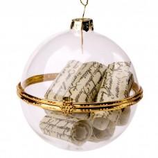 Новогоднее подвесное украшение из стекла с пожеланием внутри ШАР / 7x6 см арт.75845