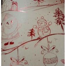 "Крафт бумага ""Снеговики"" 100х70 см, немелованная, пл.60г/м2 арт.79487"