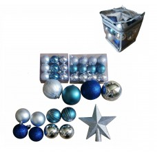 Набор Ассорти Серебряное, синее, зеленое из пластика (набор 34 шт) арт.78772