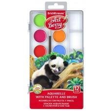 Акварель медовая 12 цветов с палитрой и кистью Artberry с УФ защитой яркости арт.41726