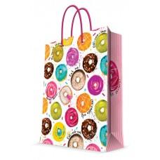Бумажный пакет Пончики для сувенирной продукции , с ламинацией, с шириной / 26х32.4х12.7см арт.76579