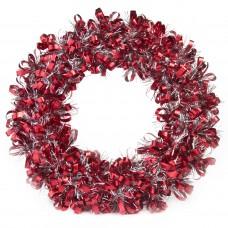 Новогодний венок Красно-Серебристый из полиэтилена / 28см арт.78827