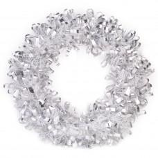 Новогодний венок Серебристо-Белый из полиэтилена / 28см арт.78829