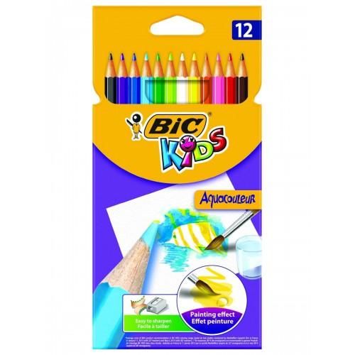Карандаши цветные 12 цветов Аквакулер BIC