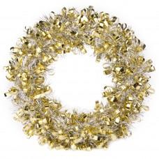 Новогодний венок Золотисто-Серебристый из полиэтилена / 28см арт.78828
