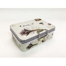 Коробка для безделушек и мелочей Лавандовое поле арт.43725 (12,5х9х4см, из черного окрашенного метал