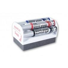 Набор маркеров для доски флип-чарта Maxiflo (4 шт. + щетка) MWL5M-4N