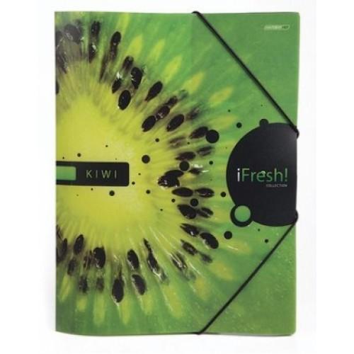Папка Пластиковая А4ф с клапанами на резинке -iFRESH-киви-