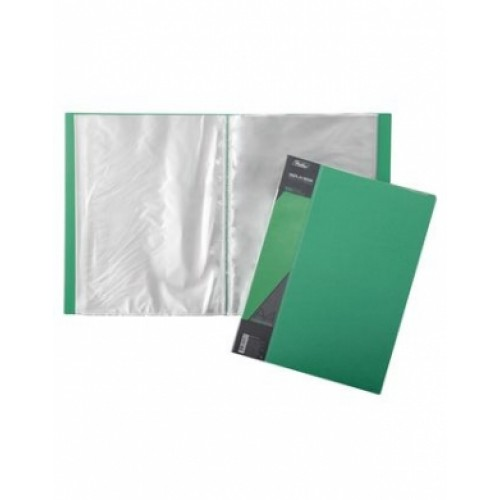 Папка Пластиковая Hatber 10 вкладышей А4ф корешок 9 мм STANDARD зеленая