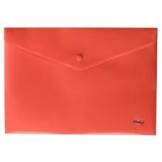 Папка-конверт Пластиковая на кнопке А4ф Hatber 180мкм красная AKk4_00003