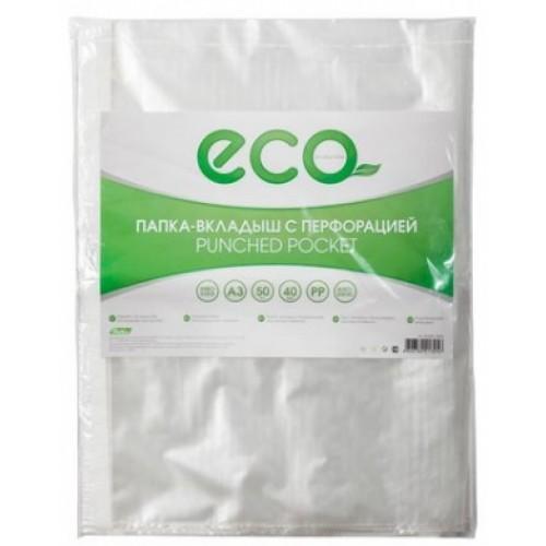 Папка -Вкладыш с перфорацией Hatber А3ф 40мкм ECO тиснение 50шт в упаковке