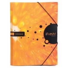 Папка Пластиковая А4ф с клапанами на резинке- iFRESH-апельсин-