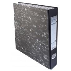 Папка-регистратор Silwerhof Basic A4 50мм картон черный мрамор мет.окант. разборная