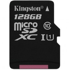 Kingston 128GB microSDXC Canvas Select Class 10 UHS-I 80MB/s Read Card + SD Adapter